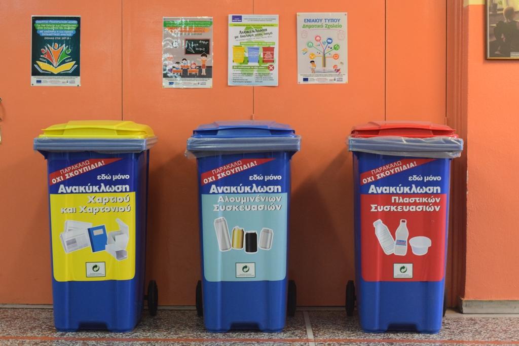 Αποτέλεσμα εικόνας για χρωμα καδου ανακυκλωσησ χαρτιου