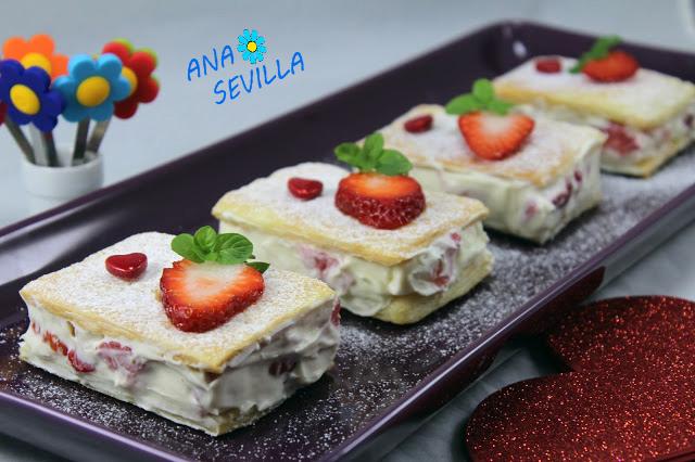 Pasteles de hojaldre, mascarpone y fresas, con Thermomix. Ana Sevilla