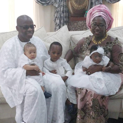 Ex governor of Imo State:- Ikedi Ohakim & his wife, Barrister Chioma's twin daughters - Adanma & Adanna  thanksgiving service