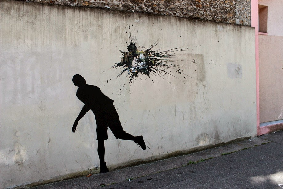 Streetartnews pejac new street pieces paris france for Piscine 8 mai vitry sur seine