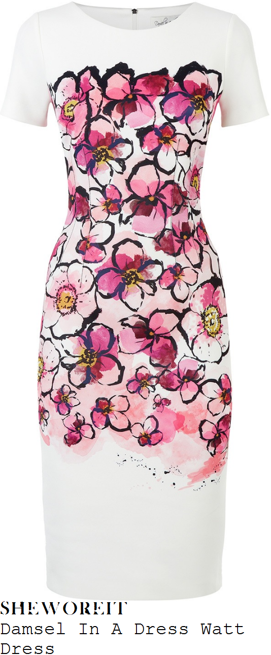 susanna-reid-damsel-in-a-dress-watt-white-pink-black-and-yellow-watercolour-floral-print-short-sleeve-shift-dress