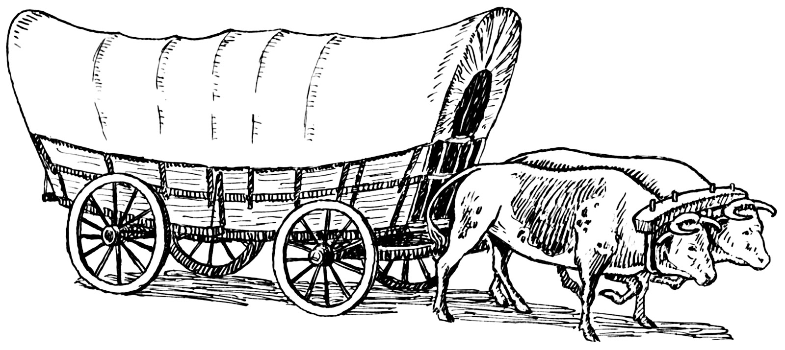 coloring pages oregon trail | Wild West History: The Prairie Schooner: Wagons Built for ...