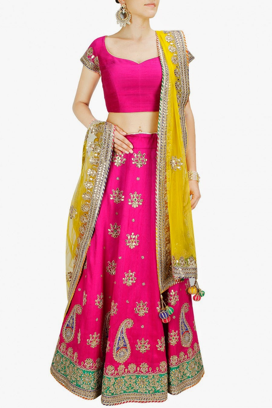 397fad86778ff5 Featuring a fuchsia raw silk lehenga with gota patti work in paisleys and  floral motifs pattern and contrast embroidered border.