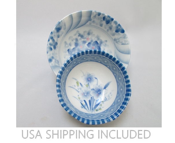 Blue and White Japanese Porcelain Bowls