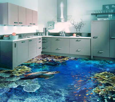 3D flooring murals for modern kitchens 2018