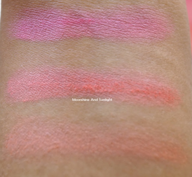 3 colors individually from the Heat wave blush from Essence