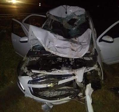 Duas pessoas ficam feridas após carro atropelar um búfalo em Catanduva