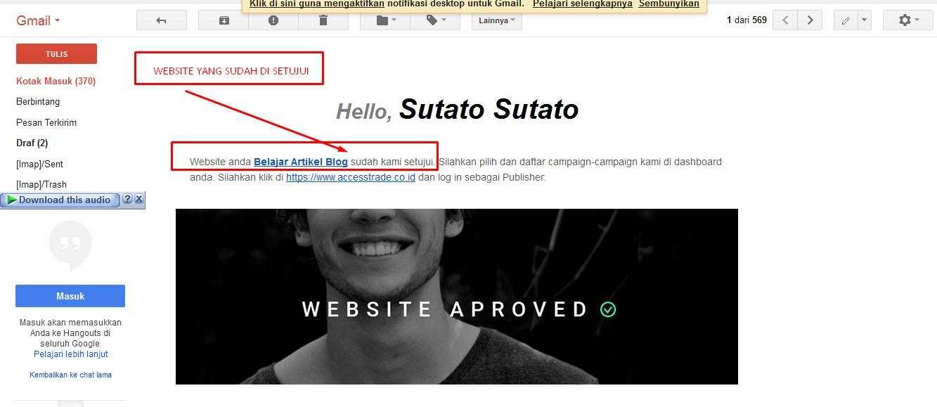 Info email dari accestrade yang di approved