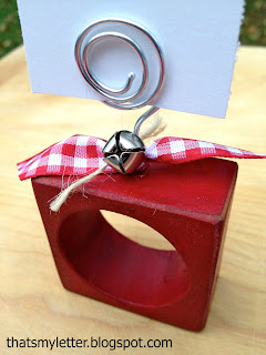 christmas napkin ring with wire placecard holder