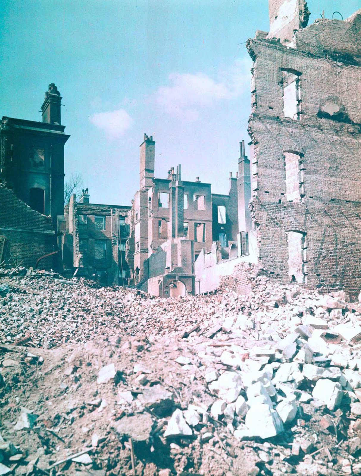 Houses destroyed by German bombing. 1943.