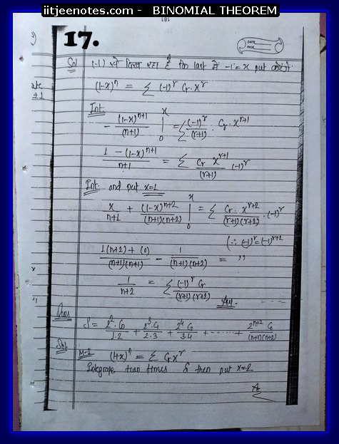 IITJEE Competiton Notes on Binomial Theorem7