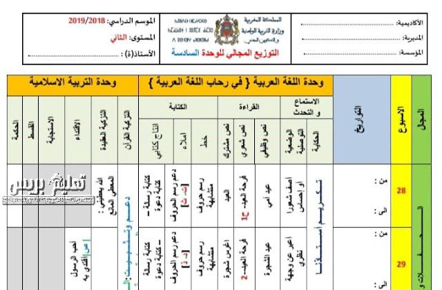 توزيع مجالي للوحدة السادسة مرجع في رحاب اللغة العربية المستوى الثاني ابتدائي