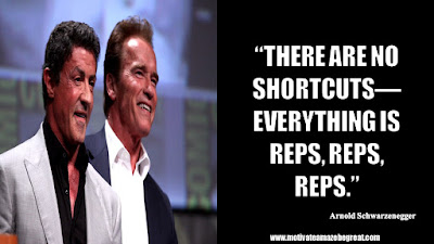 "Featured in the article Arnold Schwarzenegger Inspirational Quotes From Motivational Autobiography that include the best motivational quotes from Arnold: ""There are no shortcuts—everything is reps, reps, reps."""