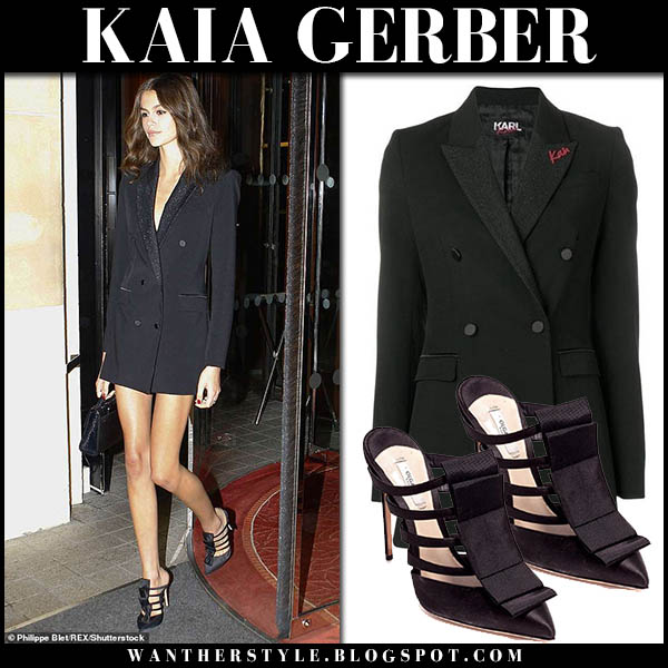 Kaia Gerber in black blazer mini dress karl x kaia fashion week outfits october 2