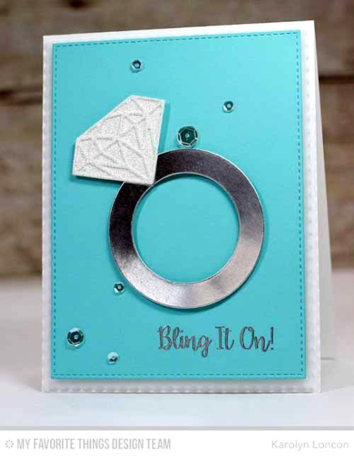 Bling it On Card by Karolyn Loncon featuring Bling it On stamp set, and Blueprints16, Blueprints 20, Blueprints 24, and Diamonds Die-namics #mftstamps