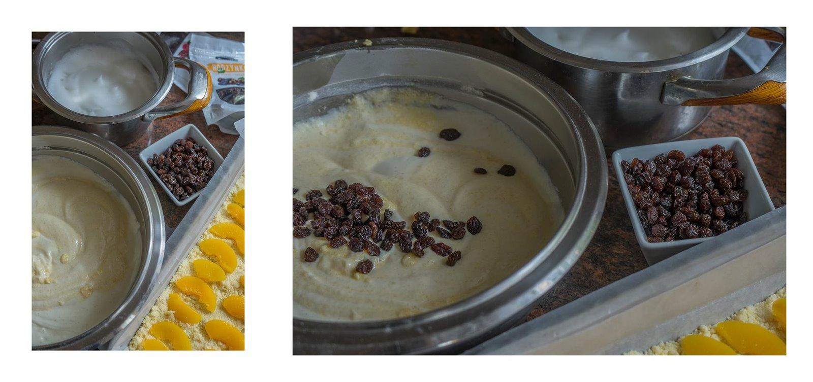 1 sernik z brzoskwiniami bez budyniu co zamiast budyniu do serknika jak upiec sernik przepis na ciasto na wielkanoc boże narodzenie z brzoskwiniami owocami z puszki kruchy spód jak zrobić ciasto placek z rodzynek