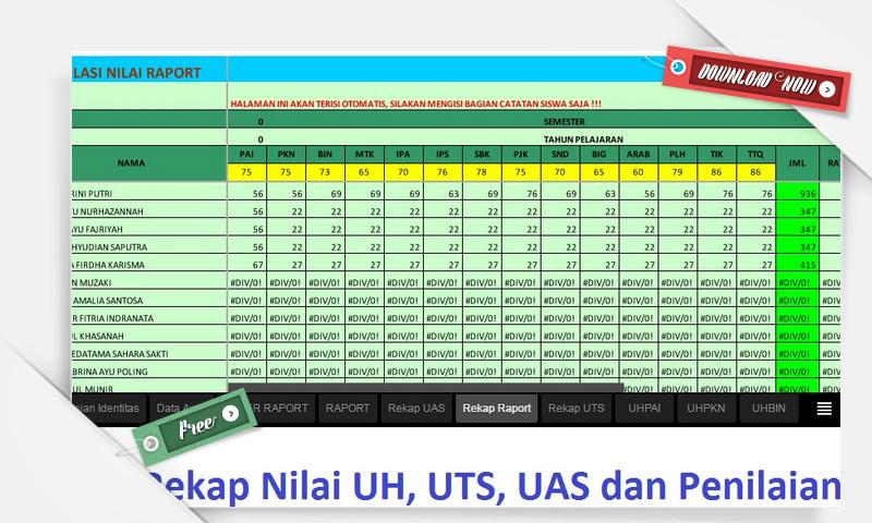 [.xls otomatis] Download Gratis Aplikasi Rekap Nilai Ujian dan Nilai Raport versi Excel