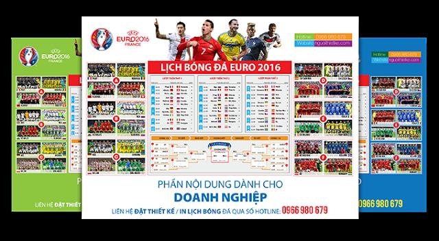 nhận thiết kế, in lịch Euro 2016 cho khách hàng