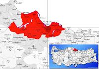 Tekkeköy ilçesinin nerede olduğunu gösteren harita.