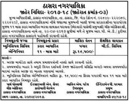 Thasra Nagarpalika Municipal Civil Engineer Recruitment 2017