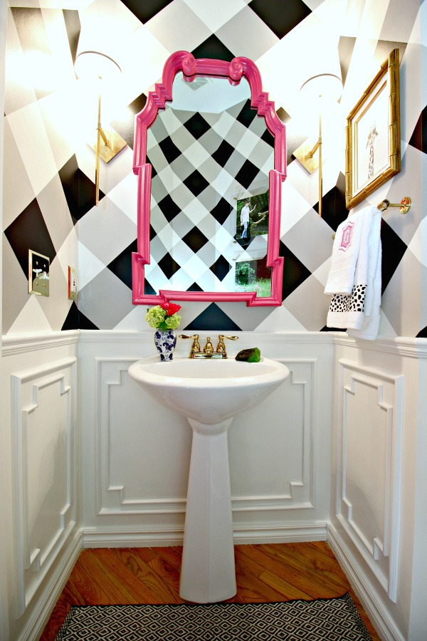 powder bath, painted walls, black and white gingham, brass sconces, pedestal sink