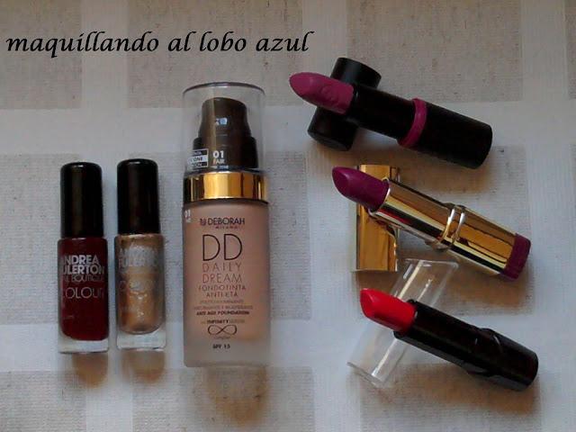 Base de maquillaje Deborah milano, barra de labios Milani, lacas de uñas Andrea Fulerton