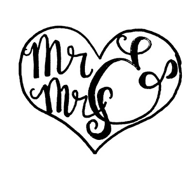 Mr. and Mrs. graphic template on a heart