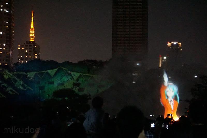 東京タワーと初音ミクのツーショット 刻をあそぶ時空の旅 ~初音ミク Links Tokyo150~にて