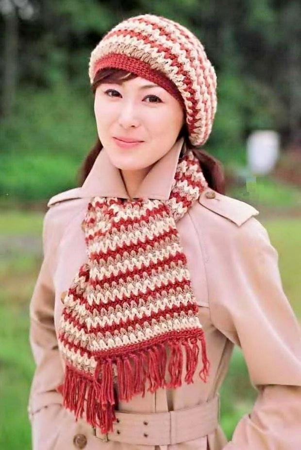 crochet hat and scarf pattern - V crochet-stitch easy for beginners