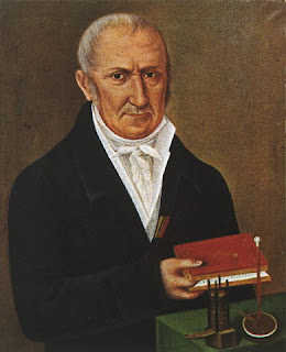 Alessandro Volta as depicted in a painting by an unknown artist