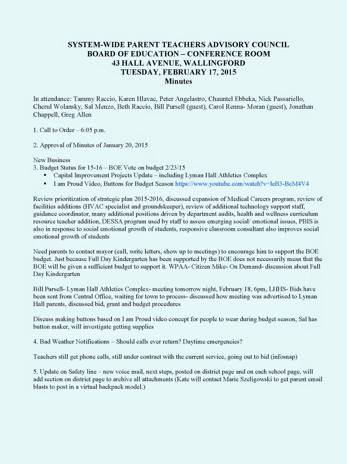 Wallingford System-Wide Parent Teacher Advisory Council: March 2015