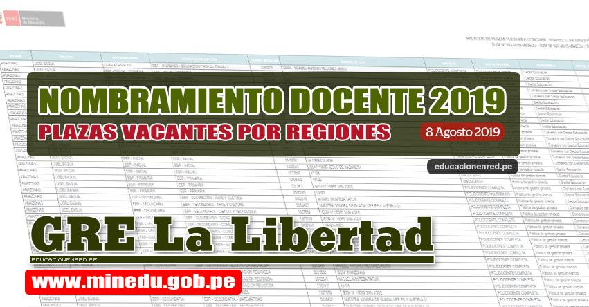 GRE La Libertad: Relación Final de Plazas Vacantes para Nombramiento Docente 2019 (.PDF ACTUALIZADO 8 AGOSTO) www.grell.gob.pe