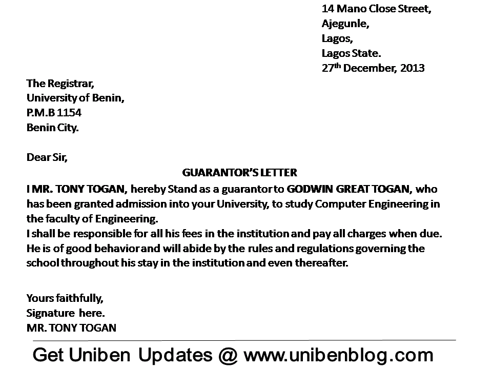 Images of Sample Guarantor Letter For Employment - Free Email