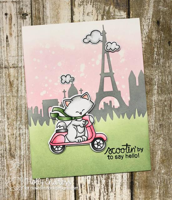 Scootin' By Card by Holly Endress | Newton Scoots By Stamp Set by Newton's Nook Designs #newtonsnook #handmade