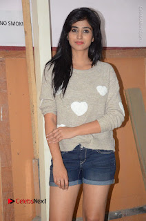 Actress Model Shamili (Varshini Sounderajan) Stills in Denim Shorts at Swachh Hyderabad Cricket Press Meet  0015.JPG