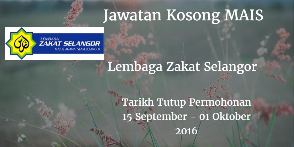 Jawatan Kosong MAIS 15 September - 01 Oktober 2016