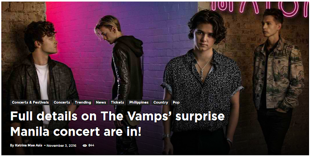 Full details on The Vamps' surprise Manila concert are in!