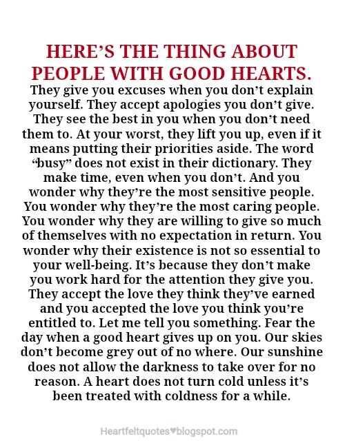 People with good hearts