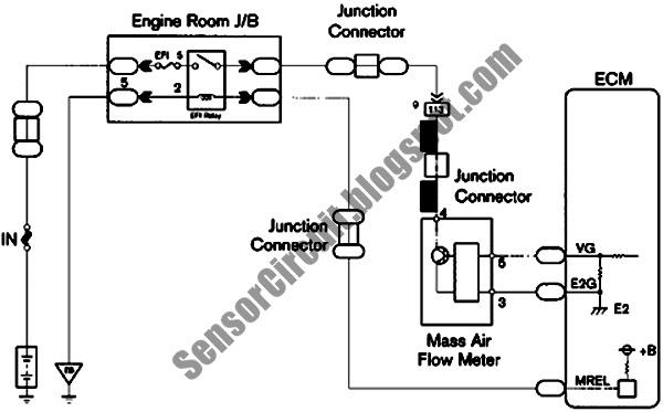 Sensor Schematic: Mass Air Flow MAF Sensor Circuit