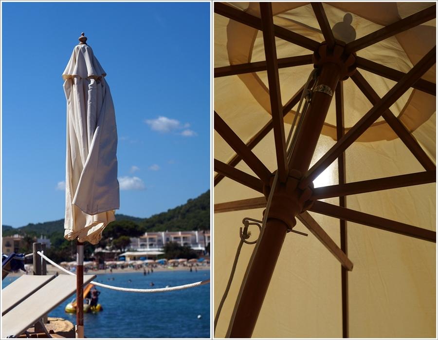 Blog + Fotografie by it's me fim.works - Collage La Isla Blanca Ibiza, Cala Llonga, Sonnenschirm mit Sonnenlicht