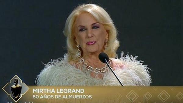 Martín Fierro 2018: la emoción de Mirtha Legrand por los 50 años de sus almuerzos