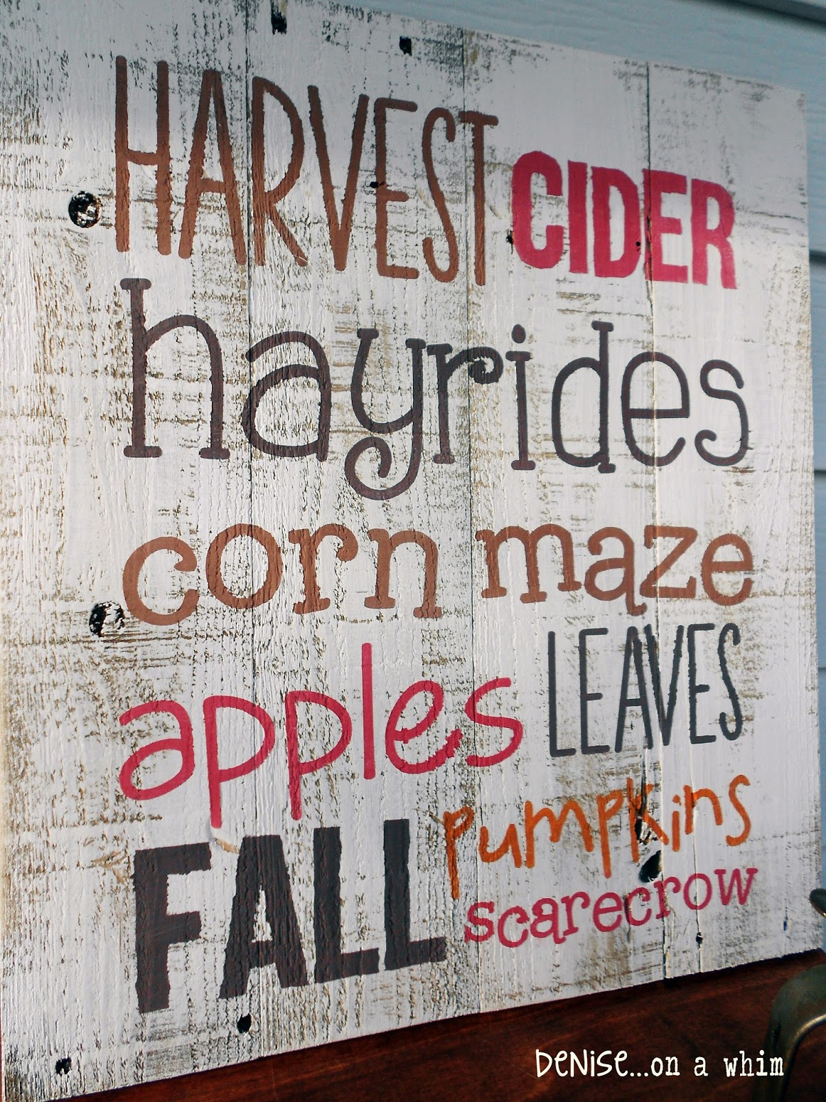 Harvest Sign On Barnwood For Fall Front Porch Decor: Denise...on A Whim: A Harvest Of Pallet Signs