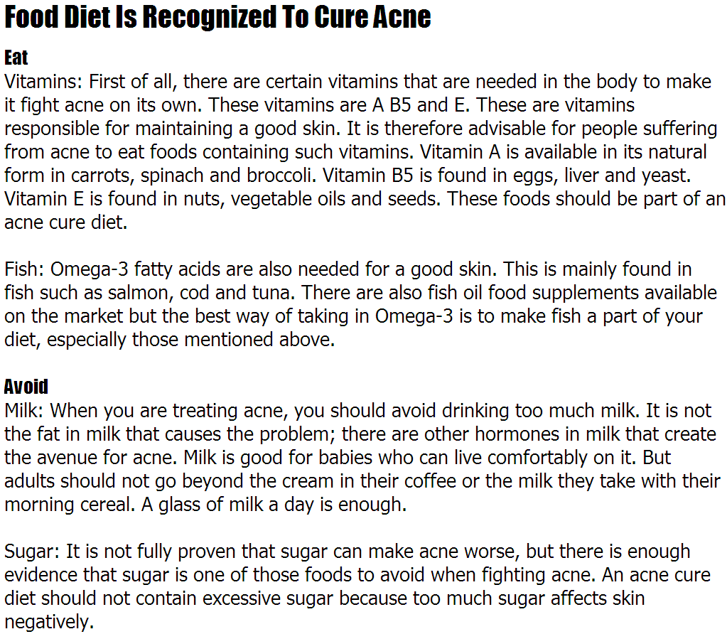 How To Cure Acne By Diet