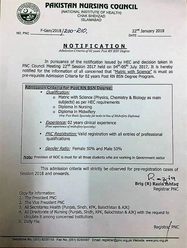 NOTIFICATION REGARDING ADMISSION CRITERIA FOR POST RN BSN DEGREE PROGRAM