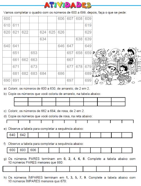 Atividades com números de 600 a 699