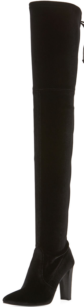Stuart Weitzman Alllegs Velvet Over-the-Knee Boot, Nero