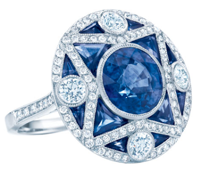 sapphires, diamonds, Art Deco style inspired, rings, cocktail rings, engagement rings, antique jewelry, Tiffany's, Tiffany and Company, Tiffany and co, Grat Gatsby collection