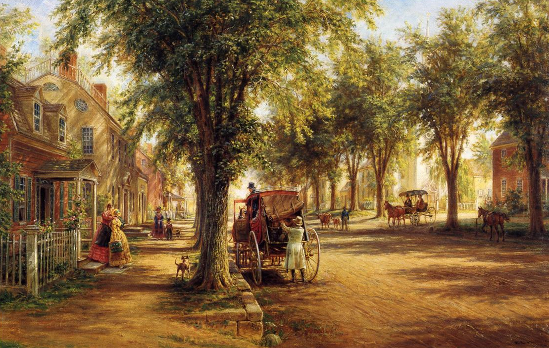 19c american women paintings of the horse carriage for Classic house genre