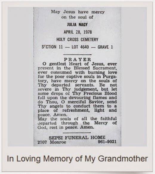 julia kovach nagy holy card April 28, 1978