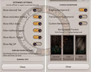 download BBM mod versi 2.5.0.32 terbaru yang sudah bisa update musik status dan ada Fitur Change background Transparan Running Text Pm